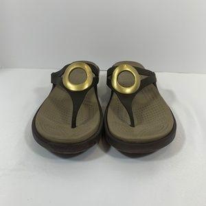 CROCS Shoes - Crocs Women Sanrah Brown & Gold Sandals Circle Top